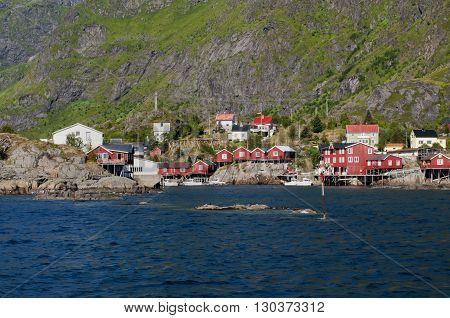 Red Houses Fisherman's Village Lofoten Island Norway
