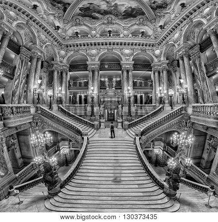 Paris, France - May 3, 2016: Opera Paris Interior View Of Stair