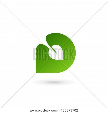 Letter D eco leaves logo icon design template elements