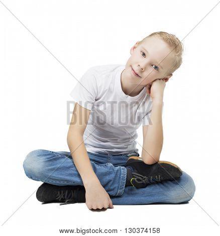 happy smiling nine years old boy, isolated against white background