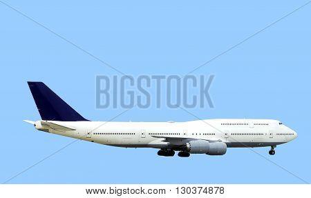 Large passenger aircraft isolated on blue background.