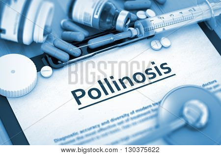 Pollinosis, Medical Concept with Selective Focus. Pollinosis - Printed Diagnosis with Blurred Text. 3D Render.