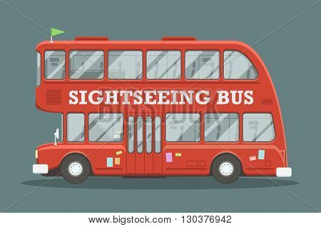 Red double decker bus side view. Vector illustration of a cartoon style sightseeing bus.