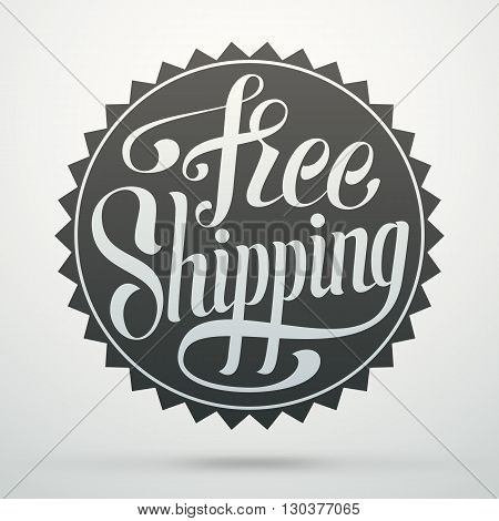 Hand lettering badge. Free shipping calligraphic tag for decorating a web store.