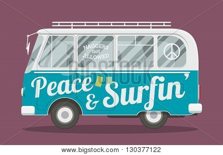 Old style brandless hippie van. Vector illustration of a retro surfers minivan side view.