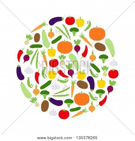 Circle of vegetables on white background, vector illustration