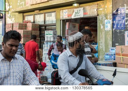 Male, Maldives - February, 13 2016 - Heavy Traffic In The Street Before Evening Pray Time