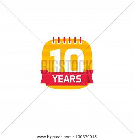 10 anniversary calendar logo, number 1 one. 10th years calendar icon. Ten years birthday party symbol. Tenth company. flat style modern design label, sticker, red ribbon, emblem, tag