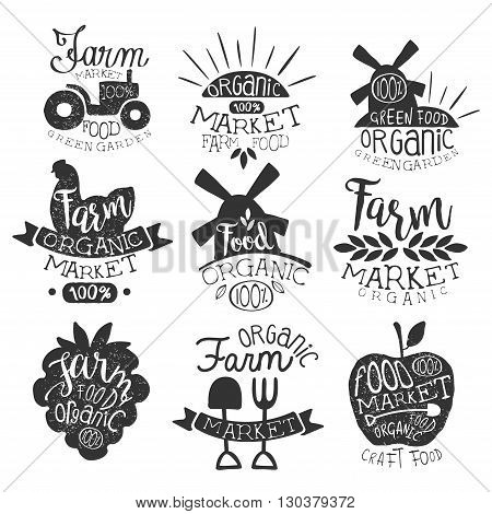 Organic Market Vintage Stamp Collection Of Monochrome Vector Design Labels On White Background