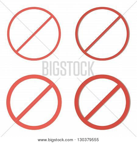 Set of red prohibition signs isolated on white background.