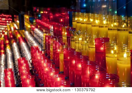 Church Red Yellow And White Votive Candles Montjuic Barcelona