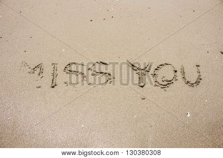 miss you on sand picture concept and idea