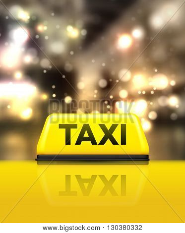 Taxi car on the street at night. Vector illustration EPS10