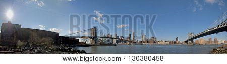 New York City Huge Panorama View With Brooklyn And Manhattan Bridge