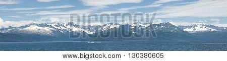 Alaska prince william sound panorama landscape on cloud