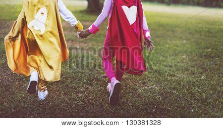Superhero Girls Friendship Cute Happiness Fun Playful Concept