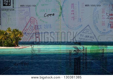 Passport Over Tropical Paradise Beach