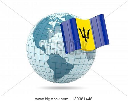 Globe With Flag Of Barbados