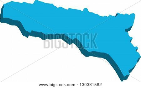 A map of Abkhazia 3D on white background