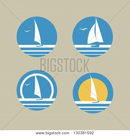 Sun And Boat In Ocean Logo Set