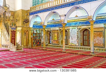 ACRE ISRAEL - FEBRUARY 20 2016: The interior of Al-Jazzar mosque designed in both Byzantine and Persian styles on February 20 in Acre.
