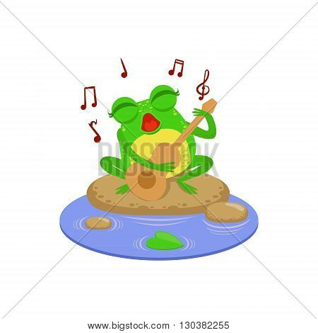 Cartoon Frog Character Playing Guitar Flat Bright Color Vector Sticker Isolated On White Background In Simple Childish Style