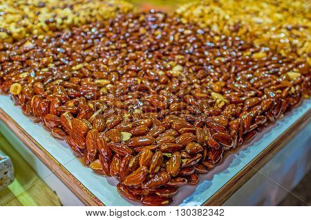 The famous eastern dessert gozinaki made of nuts in sugar and honey Turkish Bazaar of Acre Israel.
