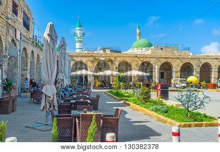 ACRE ISRAEL - FEBRUARY 20 2016: The Khan e-Shu'arda medieval hotel complex nowadays became the restaurant court with eastern spirit on February 20 in Acre.