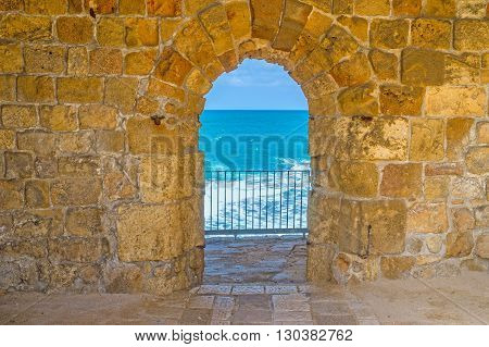 The arched pass in old rampart leading to the sea Acre Israel.
