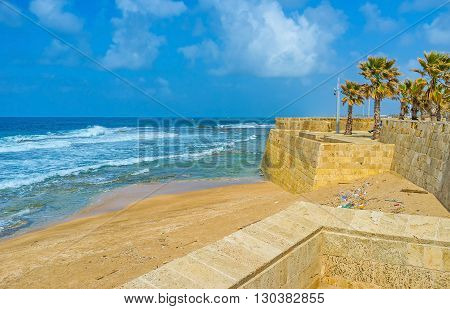 The sea walls nowadays serve only as the landmark decorating the beach line Acre Israel.
