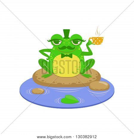 Gentelman Cartoon Frog Character Flat Bright Color Vector Sticker Isolated On White Background In Simple Childish Style
