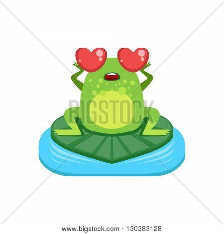 Cartoon Frog Character In Love Flat Bright Color Vector Sticker Isolated On White Background In Simple Childish Style