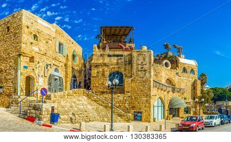 TEL AVIV ISRAEL - FEBBRUARY 25 2016: The medieval quarter next to the Kedumim square nowadays became the art and craft center with museums galleries stores and stalls on February 25 in Tel Aviv.