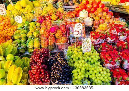 TEL AVIV ISRAEL - FEBBRUARY 25 2016: The tasty fresh fruits in the Carmel market stall on February 25 in Tel Aviv.
