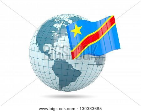 Globe With Flag Of Democratic Republic Of The Congo