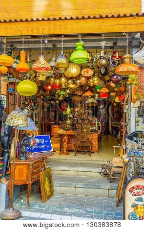 TEL AVIV ISRAEL - FEBRUARY 25 2016: The store offers retro lamps chandeliers and used furniture on February 25 in Tel Aviv.