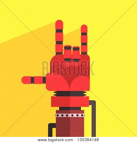 Robot Hand Making Sign Of Horns Icon In Weird Graphic Flat Vector Style On Bright Color Background