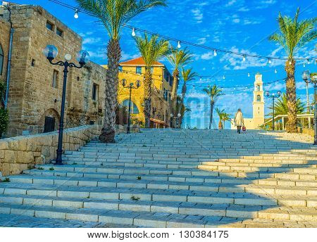 The stairs lead to Kedumim Square and St Peter's church in upper town of Jaffa Tel Aviv Israel.