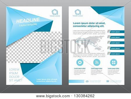 Layout flyer template size A4 cover page soft blue tone Vector design