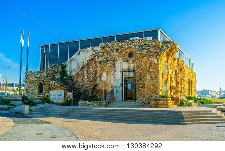 TEL AVIV ISRAEL - FEBRUARY 25 2016: The Ha-Etzel museum located in the coastal city district next to the Alma beach on February 25 in Tel Aviv.