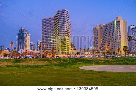 TEL AVIV ISRAEL - FEBRUARY 25 2016: The green meadow of Charles Clore Park with the modern hotels on the background on February 25 in Tel Aviv.