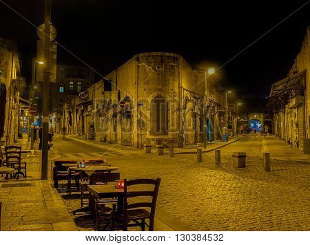 TEL AVIV ISRAEL - FEBRUARY 25 2016: The quiet and empty evening streets of old Jaffa are the best place for the walks on February 25 in Tel Aviv.