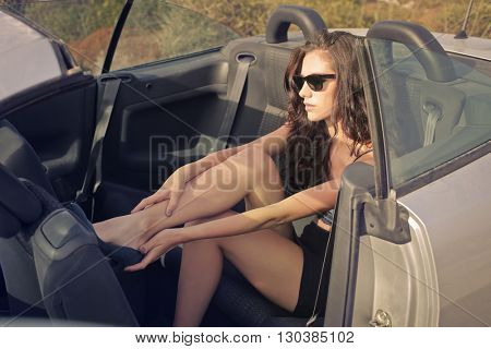 Beautiful woman in her car