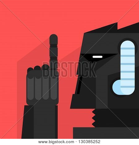 Black Robot With Finger Up Portrait Icon In Weird Graphic Flat Vector Style On Bright Color Background