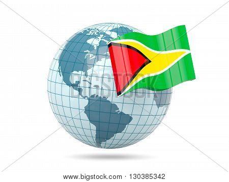 Globe With Flag Of Guyana