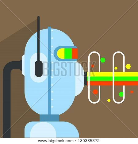 Robot Character With Beam Of Energy Coming Out Of Mouth Portrait Icon In Weird Graphic Flat Vector Style On Bright Color Background