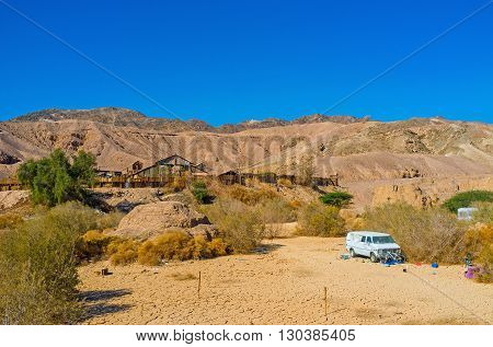 EILAT ISRAEL - FEBRUARY 23 2016: The Texas ranch in valley among the Eilat mountains on February 23 in Eilat.