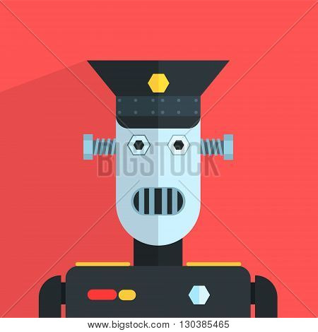 Military Officer Robot Character Portrait Icon In Weird Graphic Flat Vector Style On Bright Color Background
