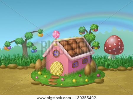 Illustration of sweet house of cookies and candy on a background of meadows, candy trees and rainbow