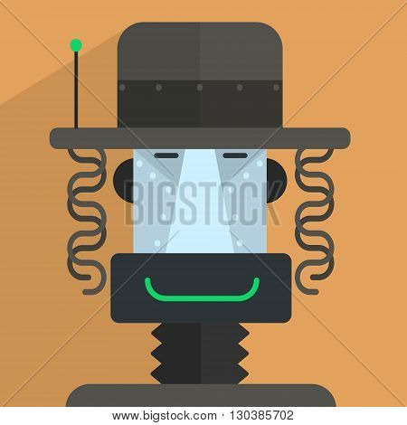 Jewish Robot Character Portrait Icon In Weird Graphic Flat Vector Style On Bright Color Background